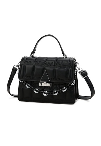 Lara black Business Women's Embossed Flap Leather Shoulder Bag - Black 225D8ACE7995E2GS_1