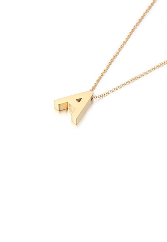 Glamorousky silver Simple Personality Plated Gold English Alphabet A 316L Stainless Steel Pendant with Necklace B0EC0AC0C0193CGS_1