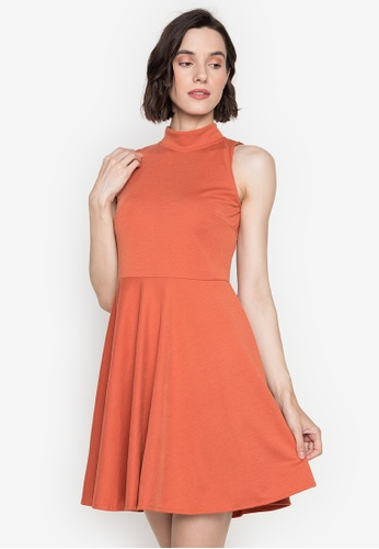 Ashley Collection orange High Neck Sleeveless  Fit & Flare Dress A2D3FAAE04ABD6GS_1