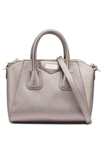 Mel&Co grey Faux Leather Satchel Top Handle Bag D6C02AC3CBD07BGS_1