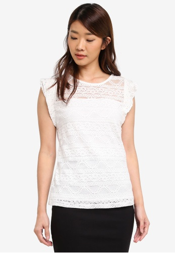 Dorothy Perkins white Ivory Frill Lace Shell Top BBE4BAAE9D19FEGS_1