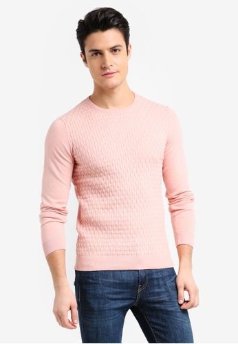 Burton Menswear London pink Patterned Crew Neck Knitted Jumper E795BAA0332FE8GS_1