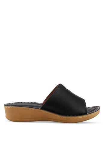 Noveni 黑色 休閒楔型拖鞋 216B1SHD7D3362GS_1
