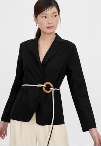 Pomelo black Two Tone Rope Weave Belt Blazer - Black 4596CAA447F19BGS_1