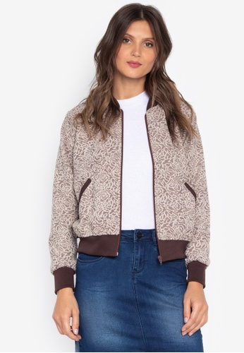 Courier brown Printed Lace Ladies Bomber Jacket 94FB9AA534941DGS_1