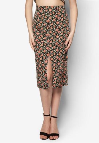 前開衩花卉鉛筆短zalora 包包 ptt裙, 服飾, 服飾