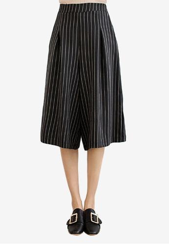 Sesura black Stripe On Elasticized Culottes D5CE6AA7B77A9BGS_1