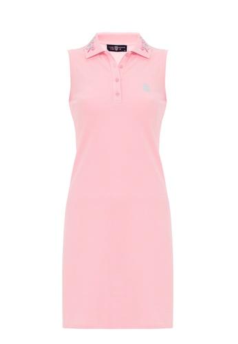 Jimmy Sanders pink Jimmy Sanders Women's Inspired Sleeveless Cropped Polo Dress with Logo E7B71AA192DAEBGS_1