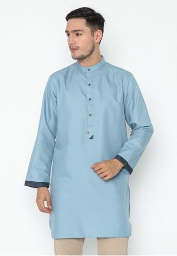 AL-LUTHFI blue Kurta Lengan Panjang Usman - Light Blue 78E08AA207CF22GS_1