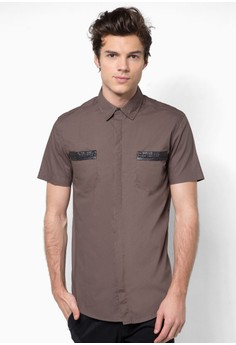 Short Sleeve Shirt with Tribal Weave Trimmed Pockets