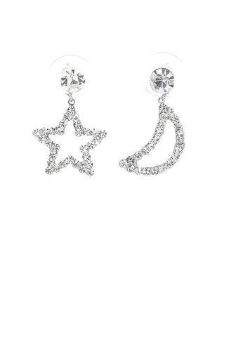 Glamorousky silver Star & Moon Earrings with Silver Austrian Element Crystals and CZ bead 26AFEAC5C05489GS_1