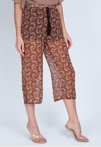 Chictees brown Janice Printed Pants 86D0AAA37E48EEGS_1