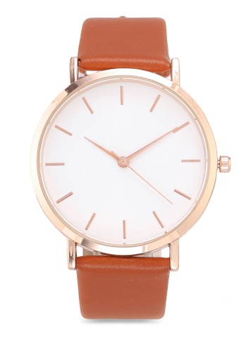 NUVEAU brown Round Face Gold White/Brown Strap Watch 63AC6AC5914E4FGS_1