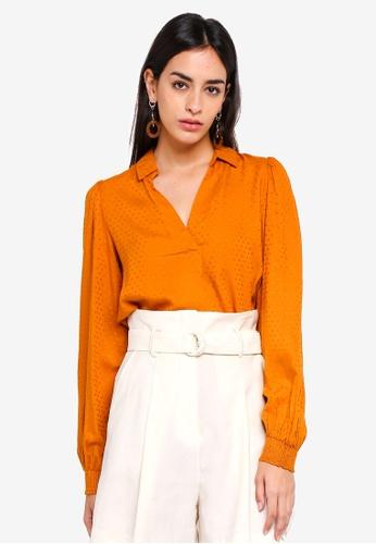 Vero Moda orange Vooli Long Sleeve Midi Top FE0D9AAB39D61AGS_1