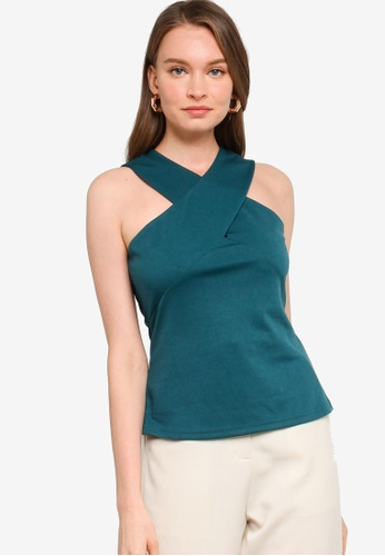 ZALORA WORK green Cross Neck Top B127FAA4B9F7B7GS_1