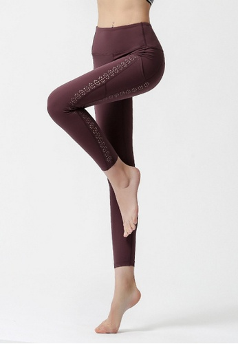 B-Code brown ZYG3064-Lady Quick Drying Running Fitness Yoga Sports Leggings -Brown 51736AAA036A50GS_1