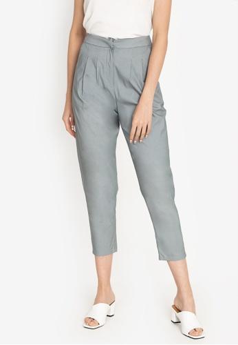 ZALORA WORK grey Pleated Tapered Pants 55D29AAE1DBCEEGS_1