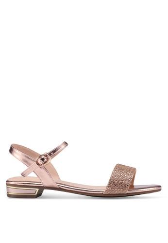 prettyFIT gold Crystal Embellished Flat Sandals B2149SHFB64E3CGS_1