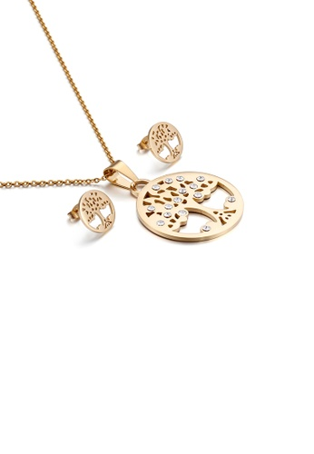 Glamorousky white Fashion and Elegant Plated Gold Tree Geometric Round 316L Stainless Steel Necklace and Stud Earring Set with Cubic Zirconia 4C3C8AC1E1E473GS_1