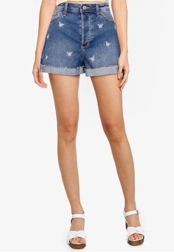 Hollister blue Butterfly Embroidery Shorts E6029AA96D0F1EGS_1