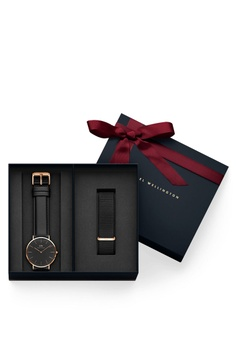 2797f01cc735c1 Daniel Wellington gold Combo Black Sheffield Watch + Cornwall Strap  9CF11ACF17F143GS_1