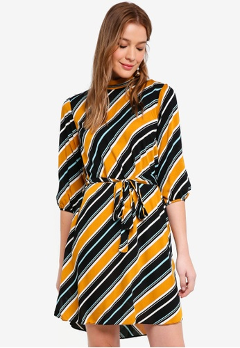 Dorothy Perkins orange Ochre Stripe Sleeve Dress 3D793AA50FC8C5GS_1