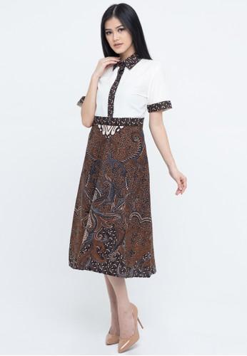 SAVI Batik white and brown Gypsy Batik Kezia Dress 8BB3AAA9FBBC58GS_1