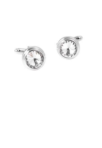 Glamorousky white Elegant and Simple Geometric Round White Cubic Zirconia Cufflinks E3DA0AC9CB3201GS_1