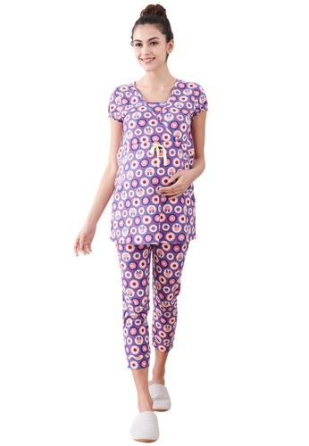 Mamaway purple Minnie Dot Pattern Maternity & Nursing Pajamas/ Sleepwear Set CCCFEAA89C4080GS_1