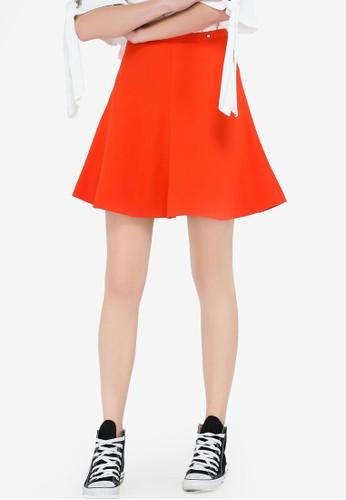 Hopeshow orange High Waist Flare Mini Skirt 60D9AAAF4ED7CEGS_1