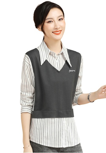 A-IN GIRLS grey and white Fake Two Striped Stitching Top 81FB2AAD5C5409GS_1
