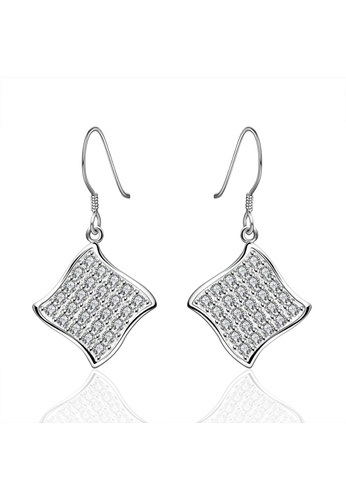 Treasure by B & D silver Treasure by B&D E573 Plated Geometric Shape Zircon Embellished Dangle Earrings TR022AC31WPGPH_1