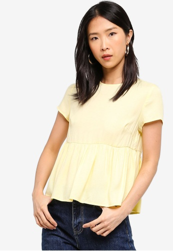 ZALORA BASICS yellow Basic Babydoll Top A48E9AABBE107EGS_1