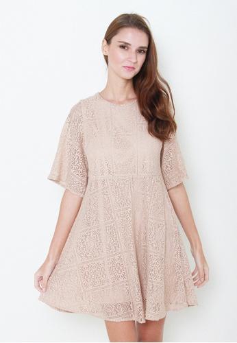 Leline Style beige Kayle Lace Dress LE802AA01LNQSG_1