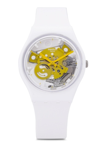 Swatch white Time To Yellow Small Watch 64B1BAC72D4EB7GS_1