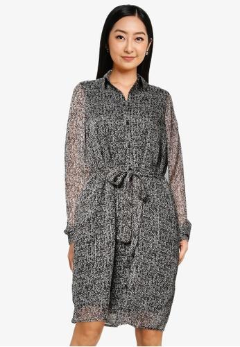Vero Moda grey Mira Long Sleeve Shirt Dress E5B60AADDD1172GS_1