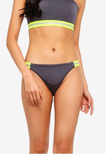 Factorie silver High Cut Cheeky Bikini Bottom With Side Tape AAE29US717607BGS_1