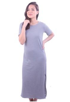 Short Sleeve w/ Side Slit Long Dress
