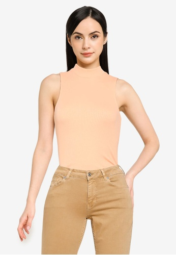 ONLY pink Nessa Life Highneck Rib Top 3ACD4AAE55EF46GS_1