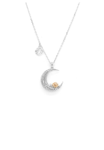 Glamorousky silver 925 Sterling Silver Rose on the Moon Pendant with horoscope necklace - Cancer 89289AC5DBD578GS_1