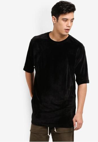 Flesh IMP black Velour Kong Long Oversized T-Shirt FL064AA73WZIMY_1