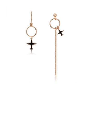Glamorousky silver 925 Sterling Silver Plated Rose Gold Asymmetric Airplane Fringe Earrings C00C9AC00413BFGS_1