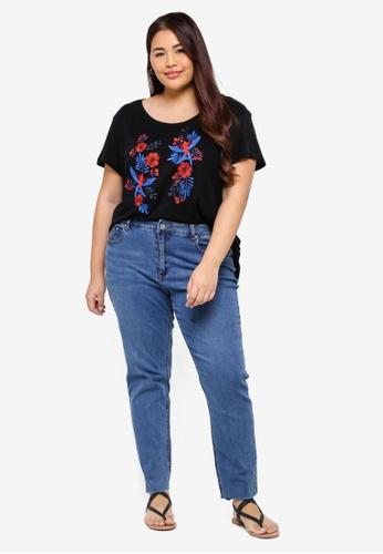 5d7c84cb57c55 Shop Junarose Plus Size Flower Bonjour T-Shirt Online on ZALORA Philippines