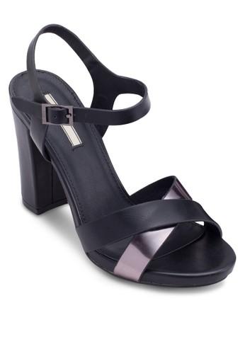 雙色交叉帶高跟涼鞋, 女鞋esprit旗艦店, 鞋