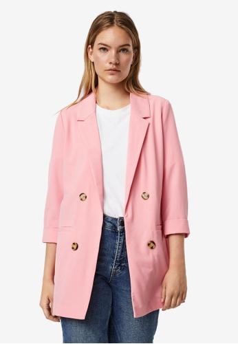 Vero Moda pink Haviva 3/4 Blazer C394BAACAA8A6AGS_1