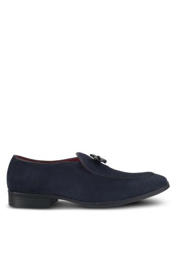 Acuto blue Suede Bow Loafers AC283SH0SL5NMY_1
