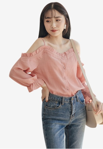 Tokichoi pink Ruffle Open Shoulder Top FB4CBAA2F4DE92GS_1