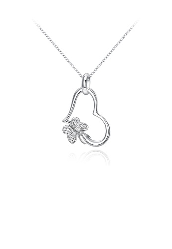 Glamorousky silver Simple Butterfly Heart Pendant with Necklace 2C0D3ACF6655CFGS_1