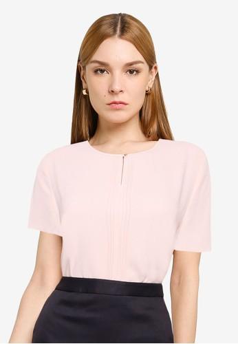 G2000 pink Pintuck Detail Short Sleeve Blouse EE368AAB693DF3GS_1