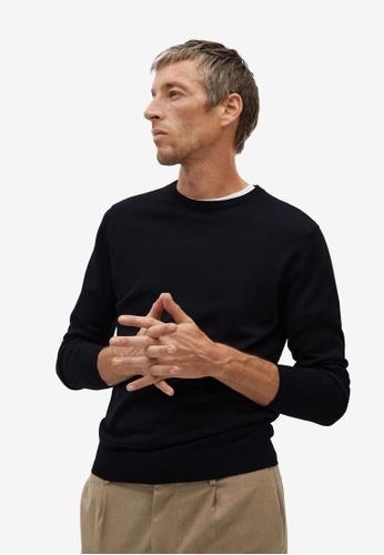 Mango Man black 100% Merino Wool Washable Sweater E11FFAA3E82042GS_1
